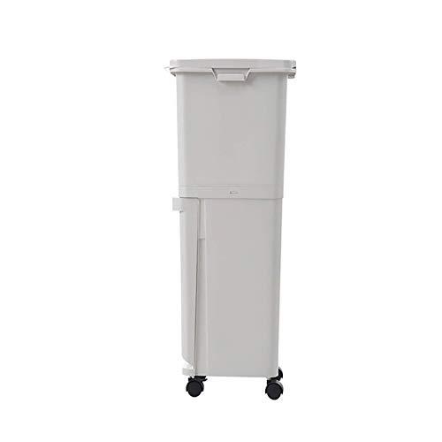 YUEZPKF Sauber und hygienisch Doppelabfall, 35l beweglicher Sortier-Abfallbehälter Große Doublelayer-Mülleimer-Sortierbehälter-Trocken-Nass-Mülleimer mit Rädern