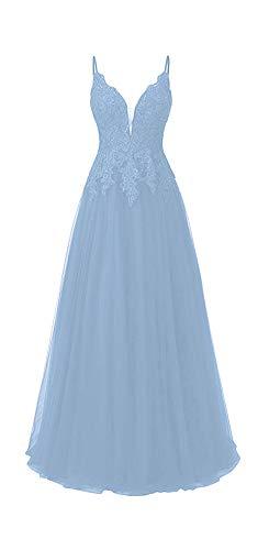 HUINI Ballkleid Damen Lang Elegant Abendkleid Hochzeit Brautjungfernkleid Cocktailkleider Tüll Glitzer Promkleider V-Ausschnitt Hellblau 52
