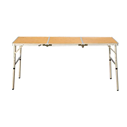 HCYY Mesa Plegable: Mesa de Comedor portátil Plegable para Exteriores, Mesa de Barbacoa de Mesa Plegable de Aluminio Salvaje autónoma (Color: Amarillo Claro, tamaño: 150x60x70cm)