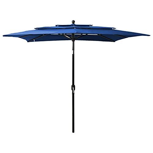 vidaXL Sombrilla de 3 Niveles con Poste Parasol Exterior Patio Terraza Protección contra Rayos Playa Piscina Toldo Aluminio Azul Azure 2,5x2,5 m