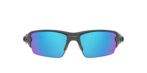 Oakley Men's OO9271 Flak 2.0 Asian Fit Rectangular Sunglasses, Steel/Prizm Sapphire, 61mm