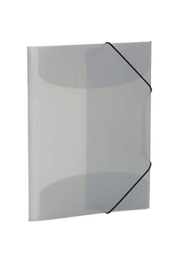 HERMA 19582 Sammelmappe DIN A4 Transluzent Grau aus stabilem Kunststoff, abwaschbar und strapazierfähig, mit 3 Innenklappen, Gummizugmappe, Eckspanner-Mappe, 1 Zeichenmappe für Kinder