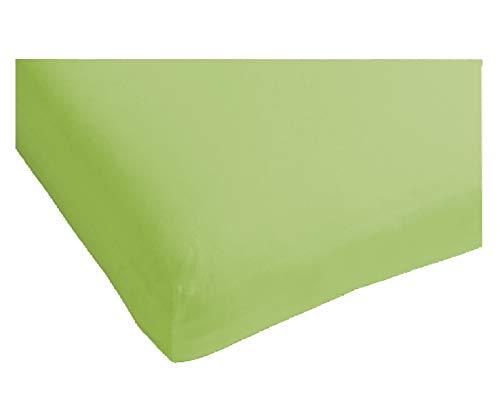 Heckett & Lane Katoenen percale hoeslaken voor boxspring topper 200 x 200 cm tot 12 cm I Green Oasis Green