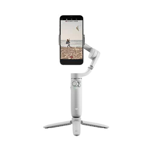 Estabilizador para Smartphones DJI OM 5 Athen Gray, Estabilizador en Tres Ejes para Teléfonos, Brazo Extensible Integrado, Portátil y Plegable, Estabilizador Android y Iphone con Shotguides, Gris