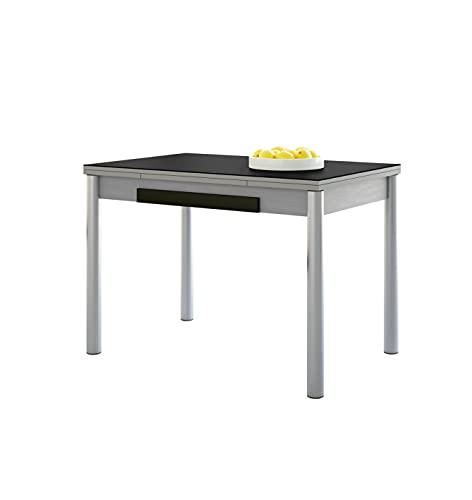 ASTIMESA Alas Cristal Mesa de Cocina, Metal, Negro, 90x50cm