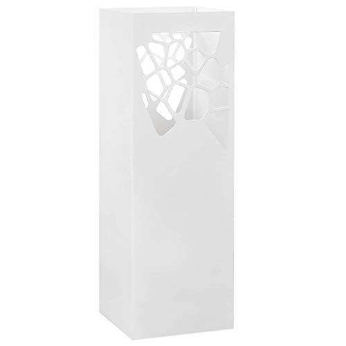 VidaXL Paragúero Diseño Piedras Acero Blanco Accesorios