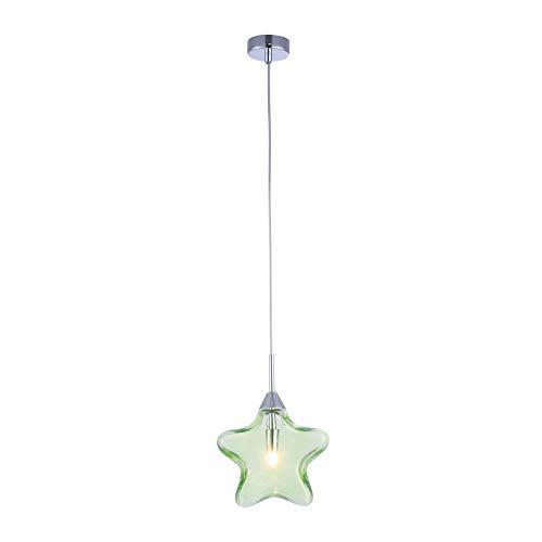 Suspension pour les enfants, 1 Lampe, Style moderne, Armature en Métal couleur chrome, abat-jour de verre vert en forme d`etoile, 1 ampoule, excl. 1 G9 28W 220-240V