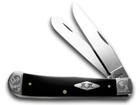 CASE XX Black Delrin 1/200 Scrolled Bolsters SFO Trapper Pocket Knife Knives