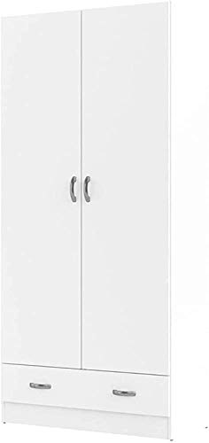 Solid Wood Wardrobe Modern Minimalist Small Apartment Bedroom Home Wood Cabinet Assembly Simple Wardrobe Children,White