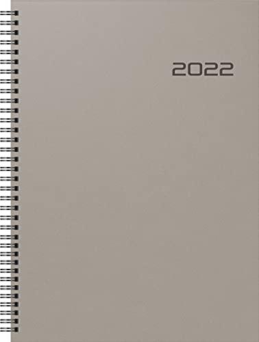 BRUNNEN 1078102002 Buchkalender Modell 781, 2 Seiten = 1 Woche, 21 x 29,7 cm, PP-Einband anthrazit, Kalendarium 2022, Wire-O-Bindung