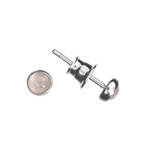 Pendientes de cuarzo rosa de Artisana, pequeños pendientes redondos de plata de ley 925/000 rodiada