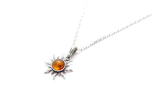 Mini Amber Sun Charm Pendant | Baltic Amber Necklace | Amber and Silver jewellery