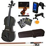 Mendini By Cecilio Violin For Kids & Adults -4/4MVMetallic BlackViolins, Student or Beginners Kit w/Case, Bow, Extra Strings, Tuner, Lesson Book - Stringed Musical Instruments