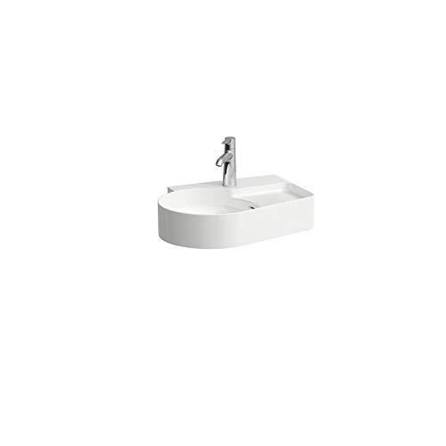 Laufen VAL Waschtisch, ohne Hahnloch, mit Überlauf, 530x400, weiß, semi-trockener Bereich rechts, Farbe: Weiss matt - H8152887571091