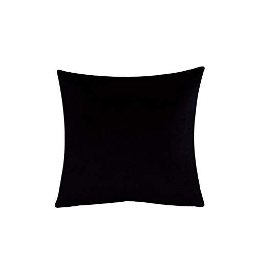 Velvet Throw Pillow Cover Soft Decorative Square Cushion Case for Sofa Bedroom Car Home 55x55/60x60cm Cozy Pillowcase-Black,45x45cm