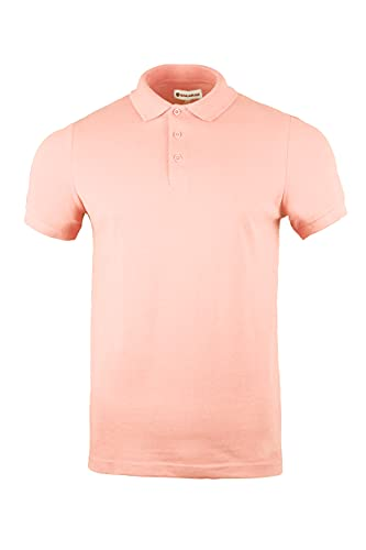 Polo para hombre de corte delgado, 100% algodón pique liso casual desgaste de trabajo deportivo, rosa claro, S