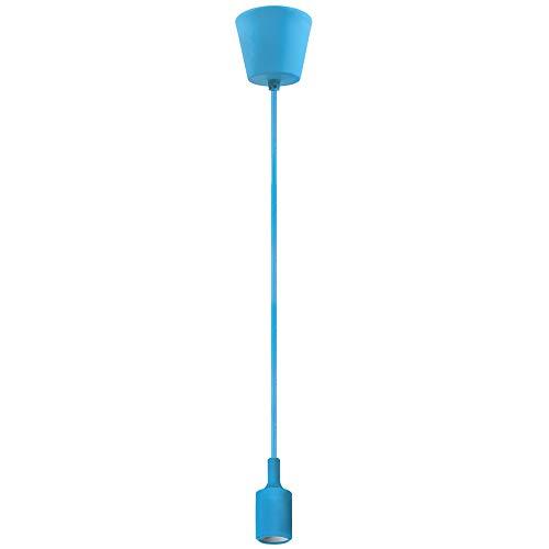 Lampara de Colgar Techo Colgante Portalampara E27 Suspension Azul Claro Comedor con Cable Longitud Máxima 155CM Ajustable para Dormitorio Salon Habitacion Restaurante de Enuotek