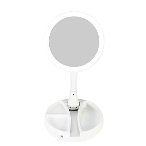 Espejos de tocador montados en la Pared, Espejo de tocador, lámpara de Mesa de Maquillaje, Espejo de Doble Cara, Plegable, multifunción, LED, Recargable, Espejo HD