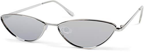 styleBREAKER gafas de sol de mujer de ojos de gato con montura estrecha de metal, lentes planas de policarbonato, «look retro», estilo de ojos de gato 09020097, color:Marco plata/vidrio plata espejo