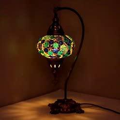 Lámpara de mesa de mosaico turco, impresionante estilo marroquí, pantalla de globo único, serie de cuello de cisne (estrellas del cielo)