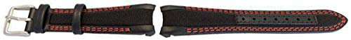Hybrid Watch Strap Made by W&CP to fit Rolex GMT & Oyster Style Smooth Black Calf Leather & Fabric Hybrid Watch Strap 20mm