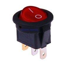 10X Interruptor Redondo Basculante Rojo iluminado ON/OFF 3 polos con luz 220V