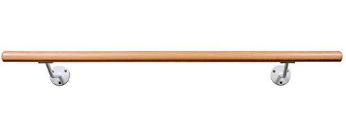 Ballettstange aus Holz, Wandhaltern in 2 Farben, 20cm Wandabstand, 20 Längen 2 Farben wählbar (Hellweiss, 1.00)