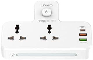 LDNIO POWER STRIP, 2 POWER SOCKETS,2 PORT WITH 2 USB-A & 1 USB-C PD & QC3.0, WHITE