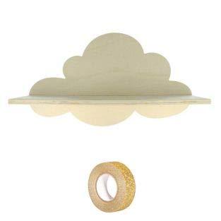 Houten plank Cloud 39 cm + Gouden glitter tape 5 m
