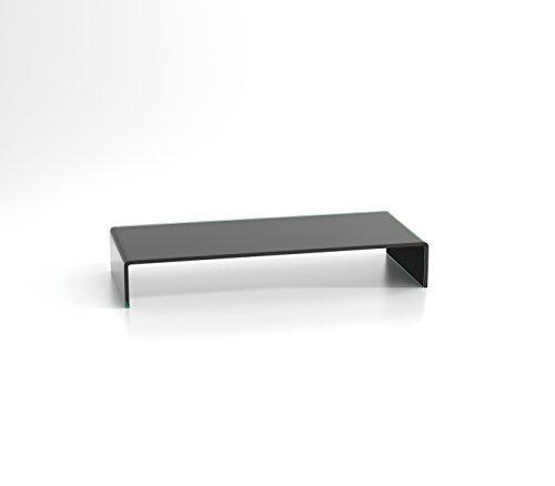 DURATABLE® Monitor Erhöhung aus Glas in Schwarz 700 mm x 300 mm x 130 mm Glastisch LCD TV Aufsatz Fernsehtisch TV Tisch