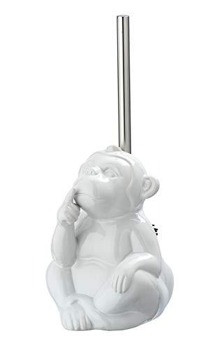 WENKO WC-Garnitur Monkey Quiet, Toilettenbürstenhalter mit Toilettenbürste in Form eines Affen, Keramik, 15 x 69 x 20 cm, weiß