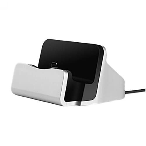 Muelle de telefono Soporte de carga Dock Station Base de carga Dock compatible para iPhone X / 8/7 Cable USB Sync Sync Cumerger Base Sliver