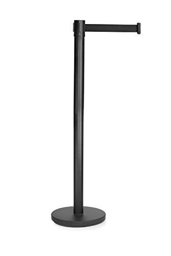 LACOR 91533-Poste Separador con Cinta Extensible retráctil de 2 Metros, Negro, 91 cm, 90CM