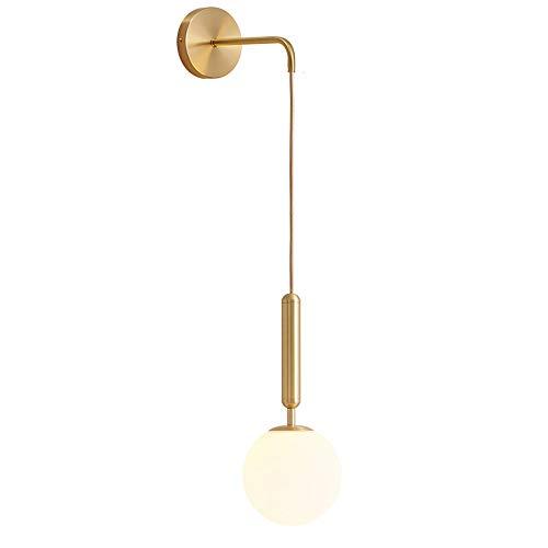 MZStech Apliques de pared industriales vintage, lámpara de pared de gota de vidrio de 15 cm para dormitorio, sala de estar (Blanco vidrio y metal dorado)