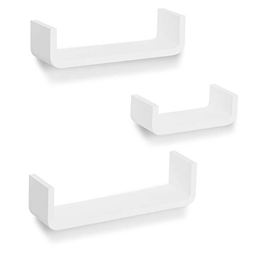 Americanflat White Floating Shelves - U-Shaped- Wall Mounted - Set of 3 - Display Ledge for Bedroom, Bathroom, Living Room, Kitchen, and Office
