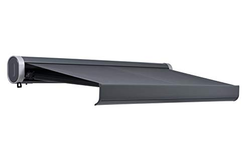 Jet-line Vollkassetten Markise 'Sunlive' anthrazit/anthrazit Verschiedene Größen mit Motor und Fernbedienung Sonnenschutz inklusive Handkurbel (4x3)