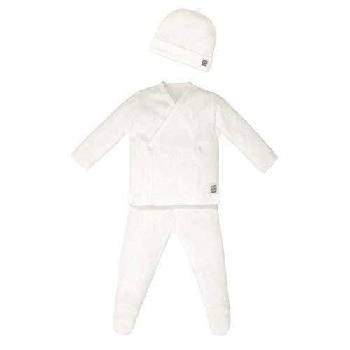 Minutus Primera Puesta bebé Conjunto Hole + Gorro, 100% Algodón (Blanco orgánico)
