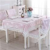 Style européen nappe en dentelle rose avec motifs floraux Jacquard tissu élégant rond couvercle de la table rectangulaire pour la décoration (taille : 150 * 210cm)