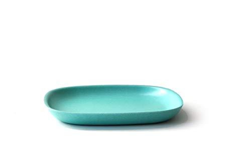 EKOBO Gusto Desserteller, 18 x 18 cm, lagoon, aus Bambus / Melamin, FSC-zertifiziert, BPA-frei, spülmaschinengeeignet