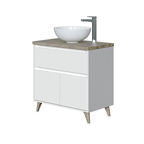 Mobile bagno 80 cm con lavabo da appoggio in ceramica con 2 ante e cassettone BIANCO + ROVERE 305731BO