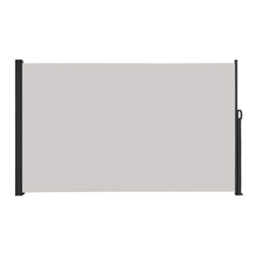 LARS360 Ausziehbar Seitenmarkise Sonnenschutz Sichtschutz Windschutz, Seitenwandmarkise Markisenstoff für Balkon und Terrasse Camping, Aus Polyester und Alu Metall Ständer (200x300cm, Grau)