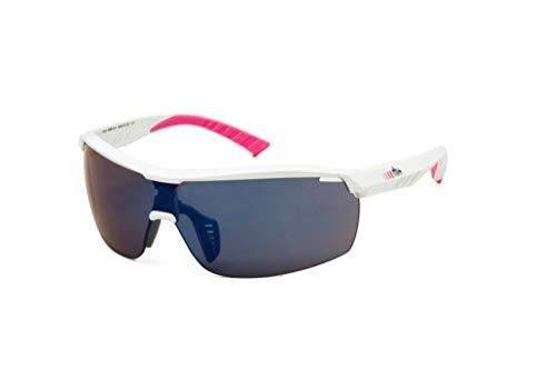 rh+ Sunglasses Legend W, Sportglasses Unisex – Adulto, Shiny White-Fucsia Mirror Blue, Taglia Unica