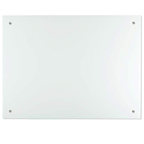 Lockways Glass Dry Erase Board, Frosted Glass White Board/Frameless Whiteboard 36 x 24, Wall-Mounted, Clear Marker Tray, for Office, Home, School
