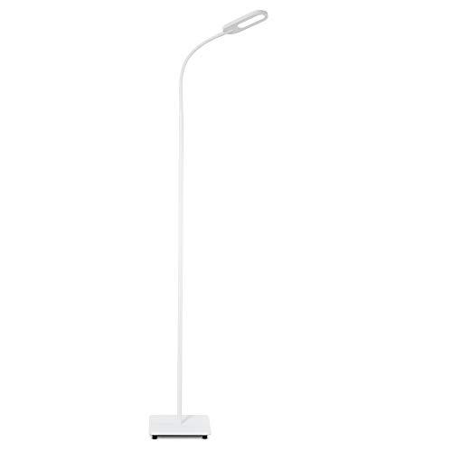 Lampada da terra LED, piantana dimmerabile su 4 livelli, luce calda neutra o fredda, altezza d'uso 1,28m, LED integrati 8W, 600Lm, orientabile, lampada a stelo touch moderna per soggiorno, bianca IP20