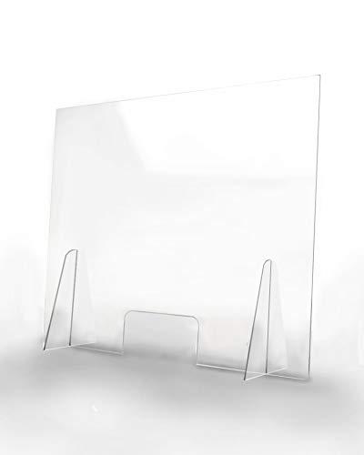 Pantalla Protección Mostrador 100x80cm - PET Policarbonato Transparente 4mm - Mampara para Mostradores ULTRARESISTENTE y ESTABLE - Separador Transparente para Colegios Supermercados Farmacias Tiendas