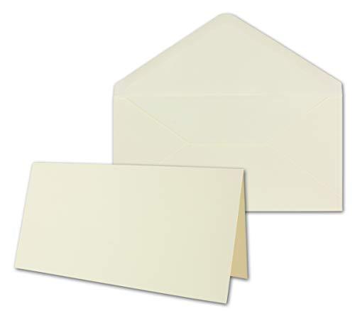 50x Faltkartenset inklusive Briefumschläge in DIN Lang 11 x 22 cm in Creme - blanko Einladungskarten - Klappkarten zum Selbstegestalten & Kreieren