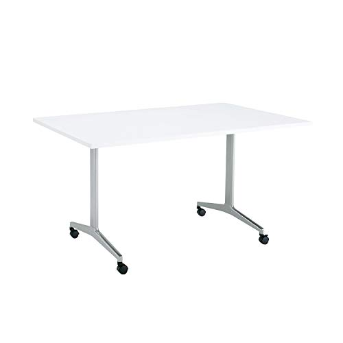 コクヨ ミーティングテーブル JUTO MT-JTT159S81MAW-C 角形天板 T字脚 スクエアコーナー 幅150×奥行90cm 天板ホワイト/脚フラットシルバー キャスター付