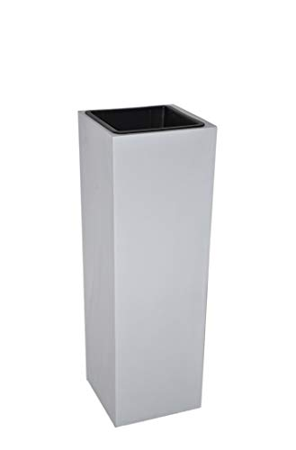 FERTIGSET: Pflanzkübel L30x B30x H90cm mit Einsatz aus Fiberglas in betongrau, Blumenkübel, Pflanztopf