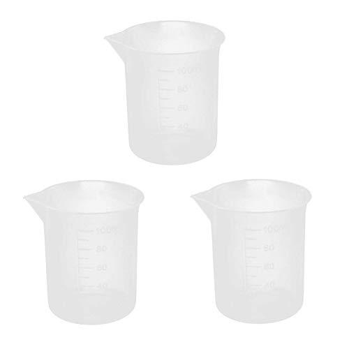 6 vasos de plástico vacíos rellenables de 100 ml con balanza medidora de leche, té, horneado, químico, contenedor de laboratorio, para casa, tienda de té, restaurante