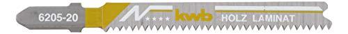 kwb 5 x Stichsägeblätter für Laminat 620525 (fein, Bi-Metall, Einnockenschaft, T101BIF) u. a. für Einhell RT-JS 85